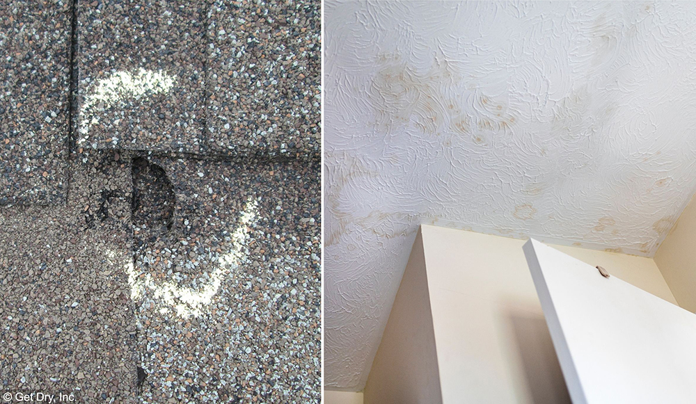 small hole in a shingle roof creates ceiling damage
